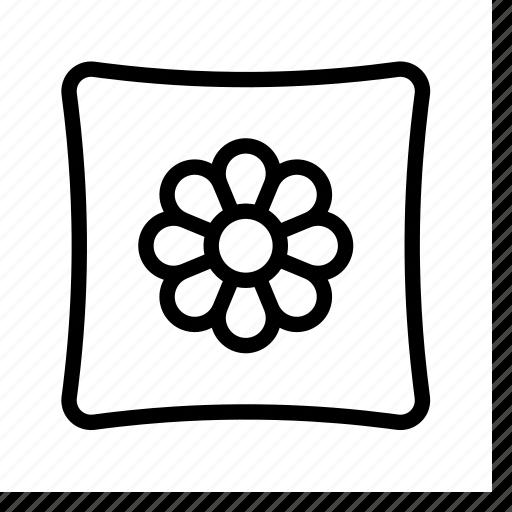 flower, pillow, sleep icon