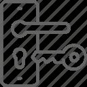door, entrance, handle, home, key, lock, renovation icon