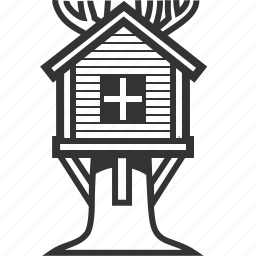 building, cabin, home, house, nature, treehouse, wooden icon