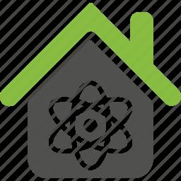 atom, atomic, chemistry, home, house icon
