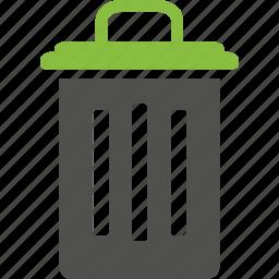bin, delete, green, recycle, recycle bin, remove, trash icon