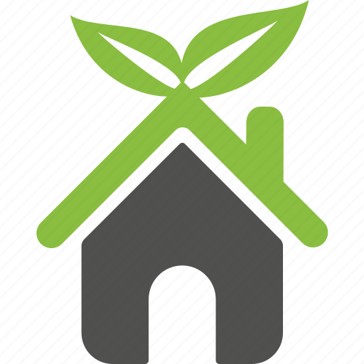 Environment, green, home, house, leaves, organic icon Green Home Icon Png
