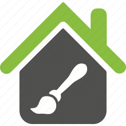 brush, building, design, green, home, house, paint icon