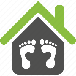 estate, feet, foot print, home, house, leg icon