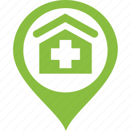 address, green, home, hospital, house, location, map icon