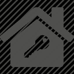 building, home, house, key, lock, unlock icon