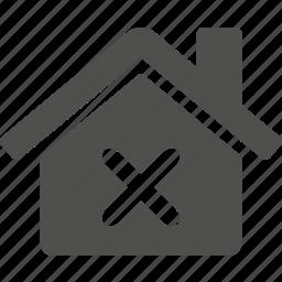 building, cancel, decline, delete, estate, home, house icon