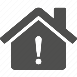 alert, caution, damaged, estate, home, house, warning icon