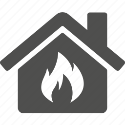 building, burn, burning, fire, home, house icon