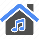 blue, home, house, music, note icon