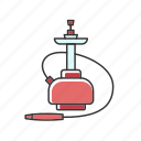 color, hookah, qalyan, red, smoke, tobacco, vapor icon
