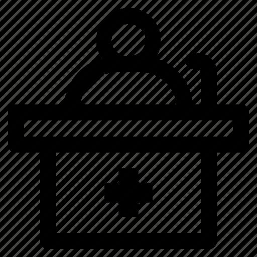 hospital, information, receptionist icon
