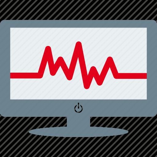 cardiogram, cardiograph, graph, monitor icon