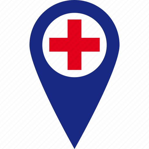 hospital, location, map, pin, place icon