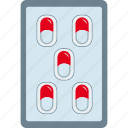 dragee, drug, medicament, medicine, pill, strip icon