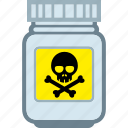 danger, jar, pills, plastic, poison icon