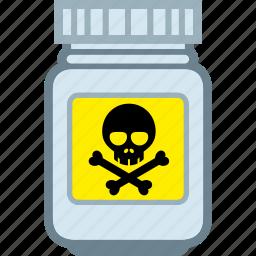 danger, jar, pills, plastic, poison icon
