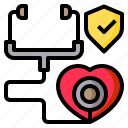 check, heart, medical, protect, stethoscope icon