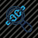 broken, hospital, magnifying glass
