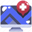 computer, gps, hospital, location, map, medical, placeholder icon