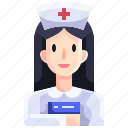 assistance, hospital, job, medical, nurse, profession, woman icon