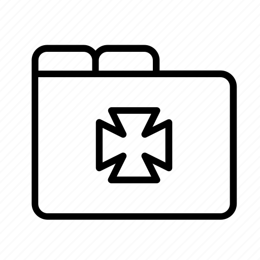 cross, file, folder, history, hospital, medical, medicine, record icon