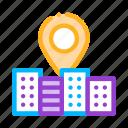 building, gps, locaton, mark icon