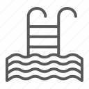 fitness, ladder, pool, sport, swim, water icon