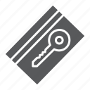 access, card, door, electronic, hotel, key, pass icon