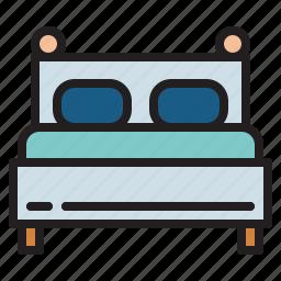 bed, bedroom, hotel, sleep icon