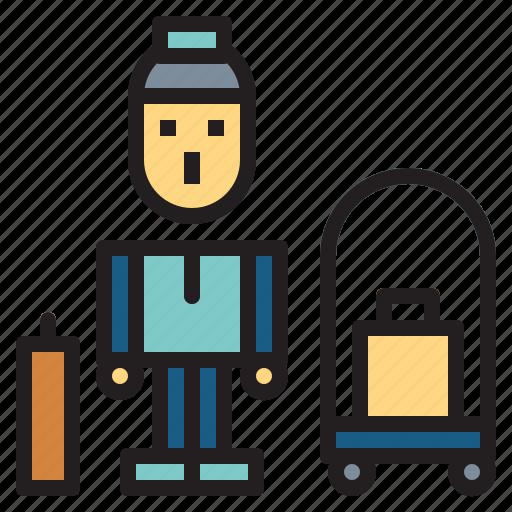 bellboy, hotel, luggage, trolley icon