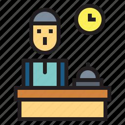 desk, front, hotel, reception, receptionist icon