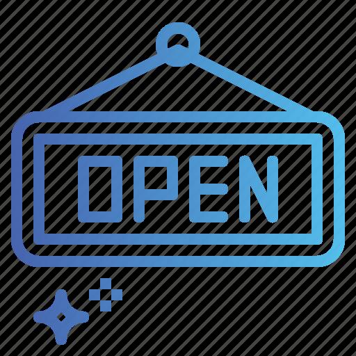 open, shop, sign, signal icon
