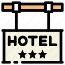 hotel, hotel sign, location icon