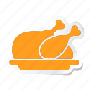 chicken, fried, hotel, meat, roast, roasted, turkey icon icon