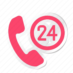 24, 24 hours, call, ecommerce icon, hotel, service, trip icon