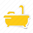 acomodation, bathroom, bathtub, hotel, shower icon, trip, vacation icon