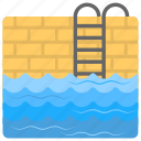 deep pool, indoor pool, outdoor pool, pool with ladder, swimming pool icon