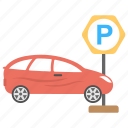 car park spot, car parking, parked car, parking lot, parking ticket icon
