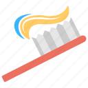 brushing teeth, oral health, oral hygiene, toothbrush, toothpaste icon