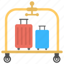 carrying service, luggage, luggage carrier, luggage trolley, suitcases icon