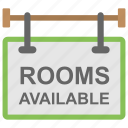 hotel rooms, motel, notice board, rooms available, sign board icon
