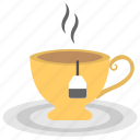 cup of tea, hot tea, tea, tea bag, tea break, tea time icon