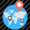 worldwide, destination thumbnail, international travel, different location, multiple navigations icon