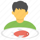 seafood platter, fish dish, fish on plate, eating fish, served meal icon
