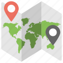 destination points, location thumbnails, map, navigation, traveling icon