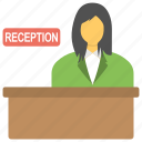 appointment, female receptionist, query office, reception counter, reservation counter icon