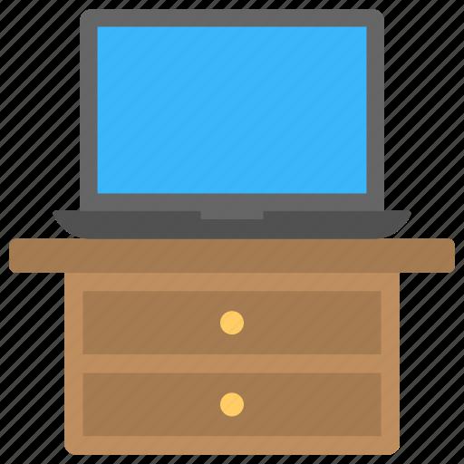 computer desk, cupboard, laptop, side table, working desk icon