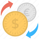 coins, currency exchange, dollars, euros, foreign currency icon