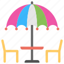 day at beach, food, outdoor lunch, summer vacation, umbrellas icon